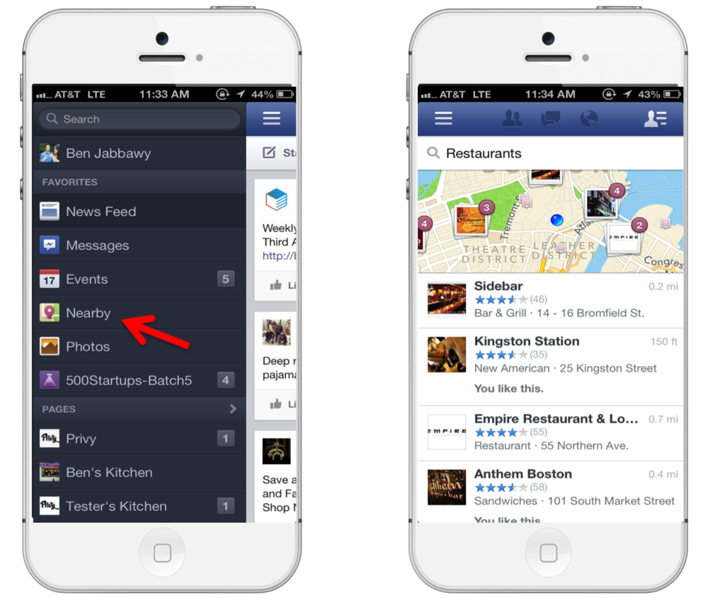 Facebook Nearby Search Results