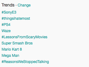 An example of trending topics on my personal Twitter feed