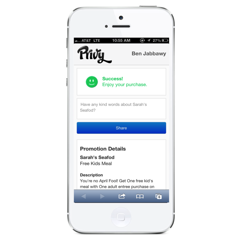 Customers are prompted to submit a review after redeeming a limited time offer with Privy.