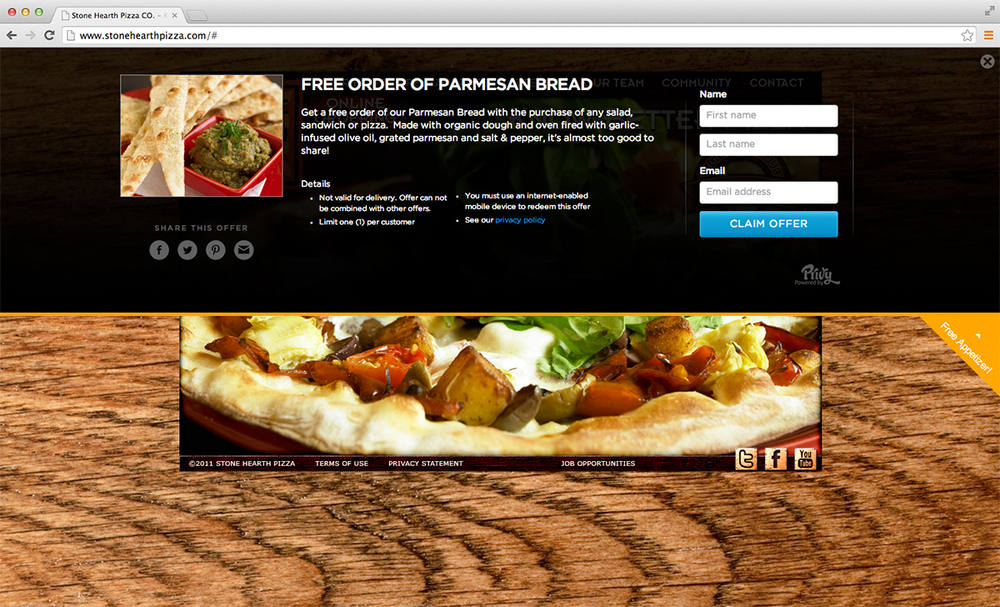 Stone Hearth Pizza dynamically publishes promotions to their website with one click of a button.