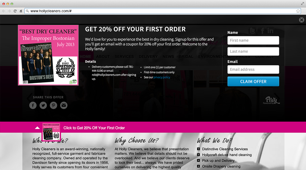 Holly Cleaners publishes promotions to their website with one click of a button.