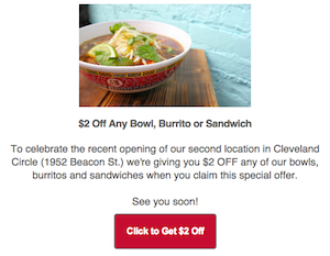 SA PA is a fast casual restaurant that used email to drive customers to one of their new locations.