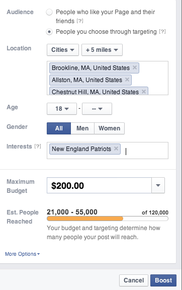 Facebook allows you to target geographies, interests, age and gender for a Boosted Post.