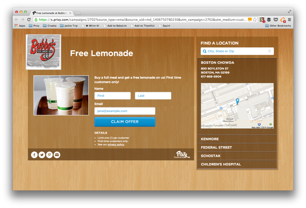 An example of a Privy-hosted landing page.