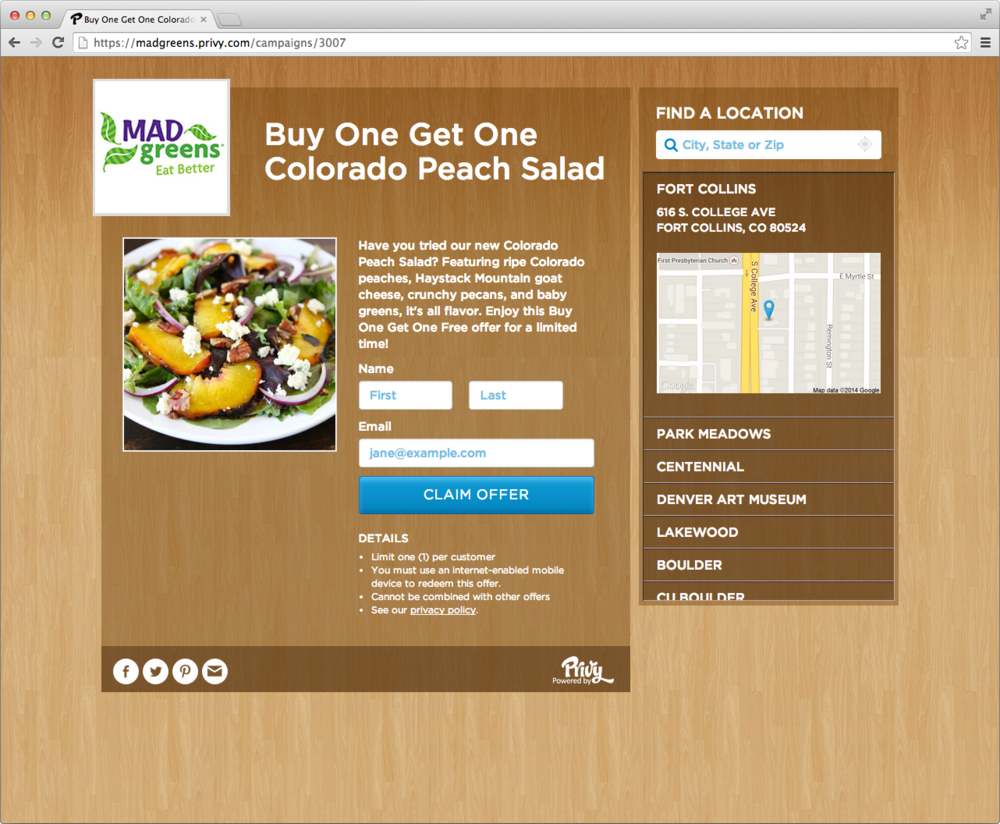 Desktop view of a landing page generated with Privy.com