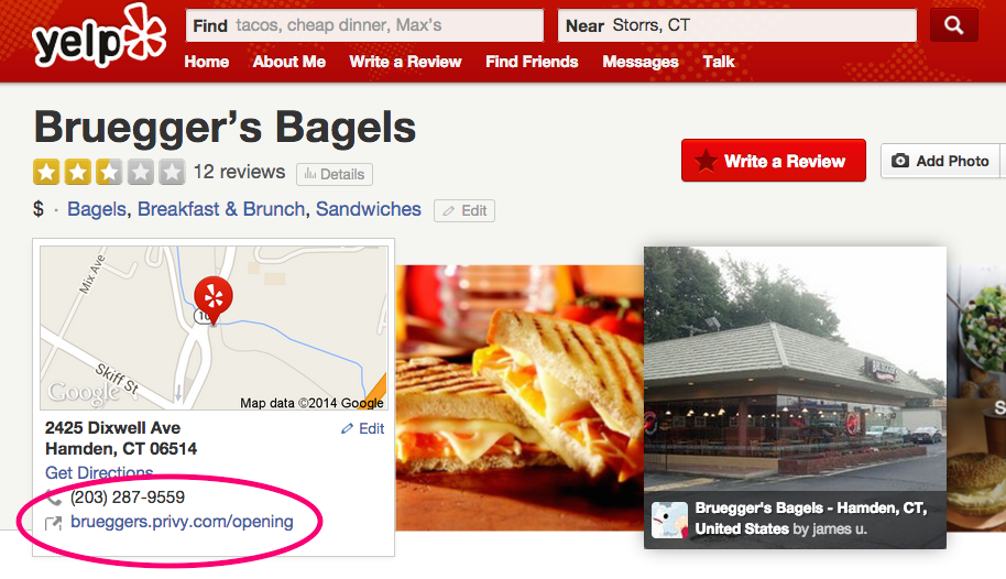 A Yelp page for the new store with a direct link to the grand opening offer.