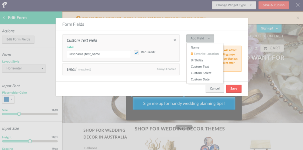 Add custom forms directly in your popup or landing page designer.