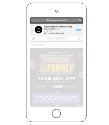 A mobile banner prompting the visitor to download the native app.