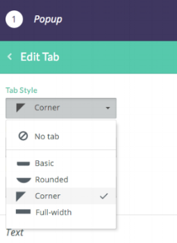 Choose a tab style that prompts a popup once clicked