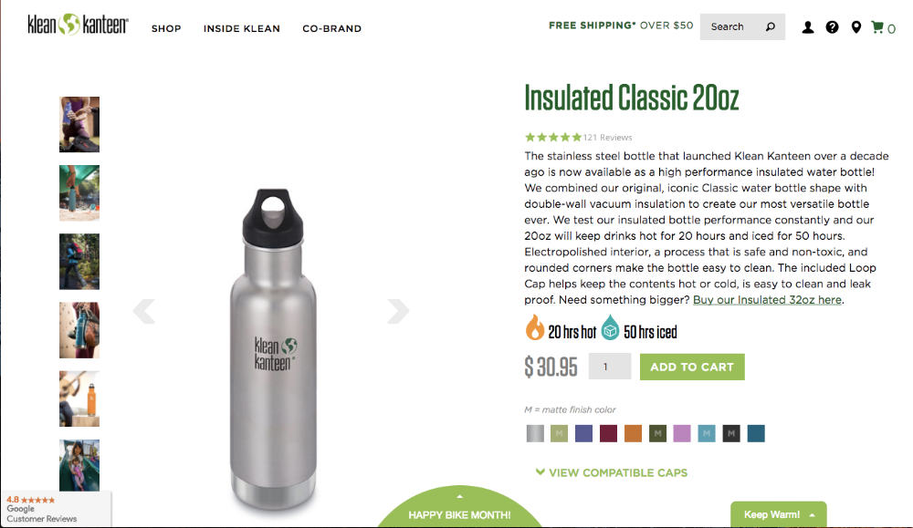 Klean Kanteen gets it all right!