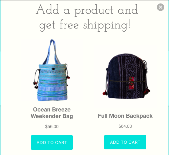 Samui Bags gives really clear instructions + actions with this example. Add one of these products to your cart to get free shipping.
