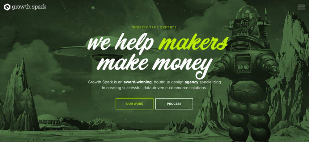 GrowthSpark's website has a comic-book feel with a green color palette.