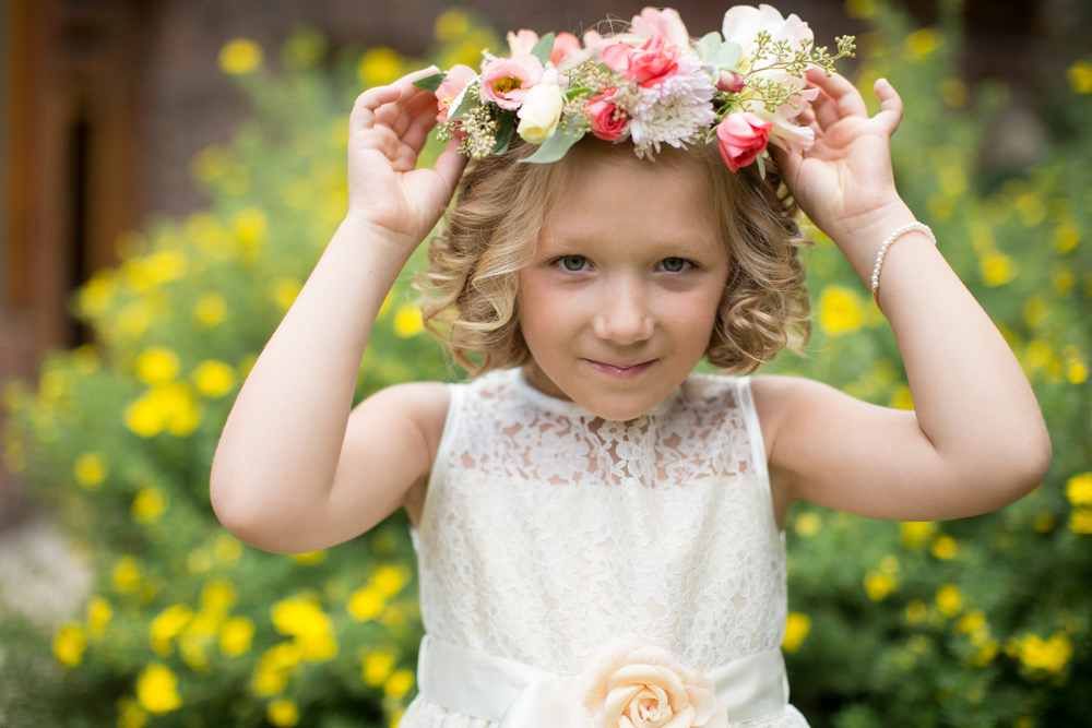 Lace and Lilies, flower girl halo, flower crown, aspen wedding