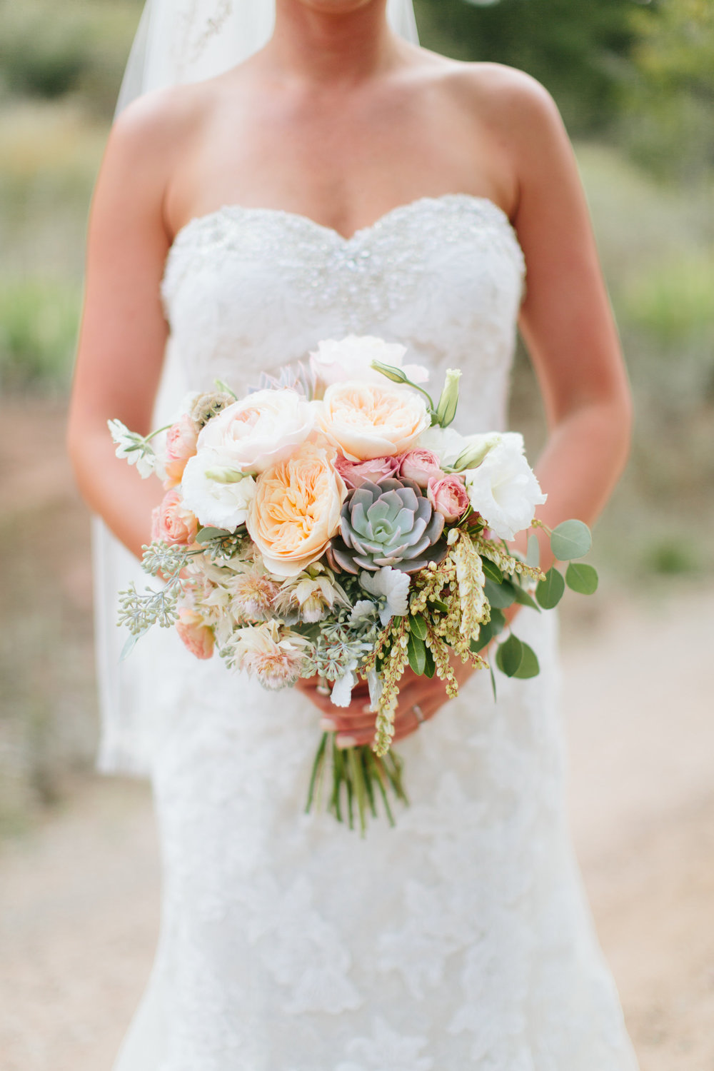 Lace and Lilies, Bridal blush and peach bouquet
