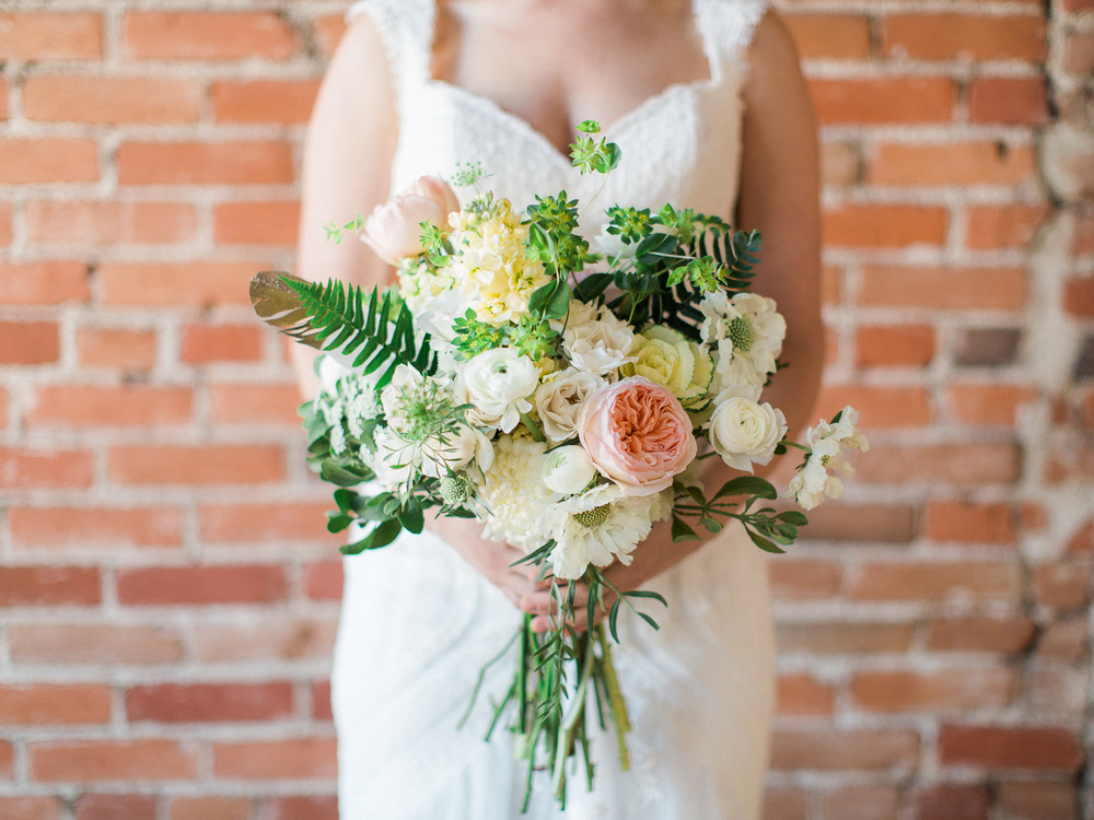 Lace and Lilies, pastel fern bridal bouquet, gold dipped feathers