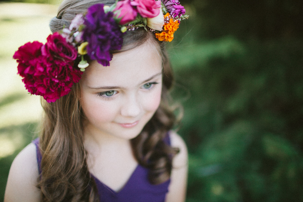Lace and Lilies, Jewel tone flower girl crown, flower halo