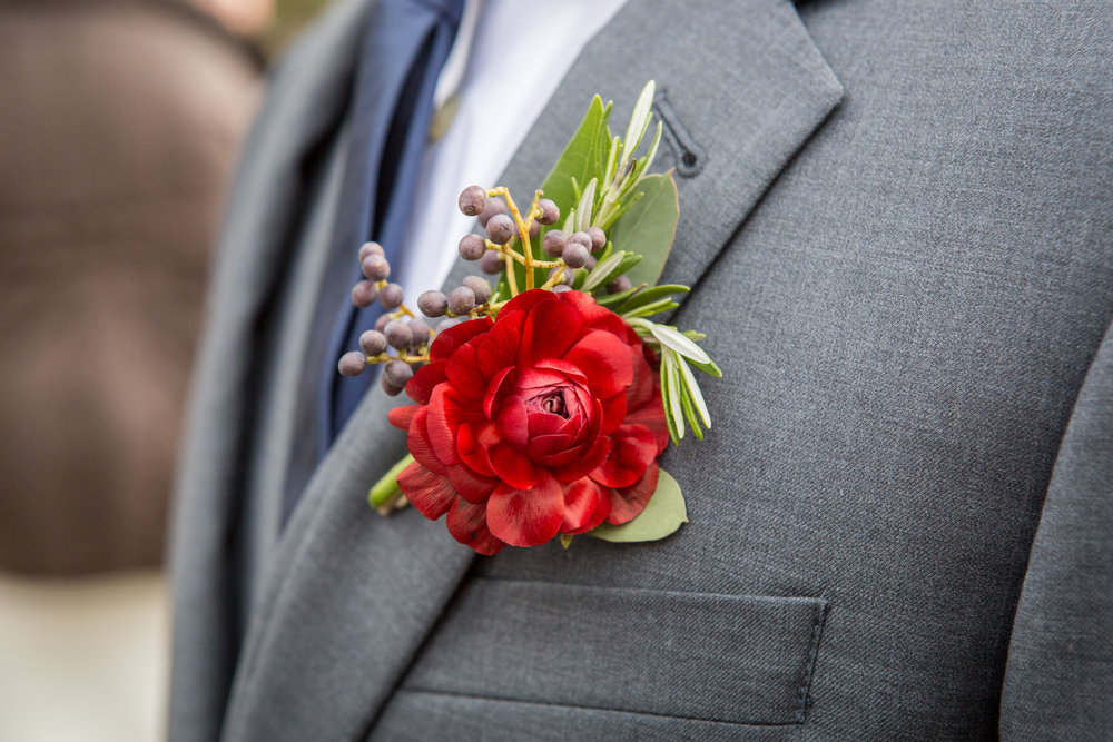 Lace and Lilies, Bright and Bold Boutonniere
