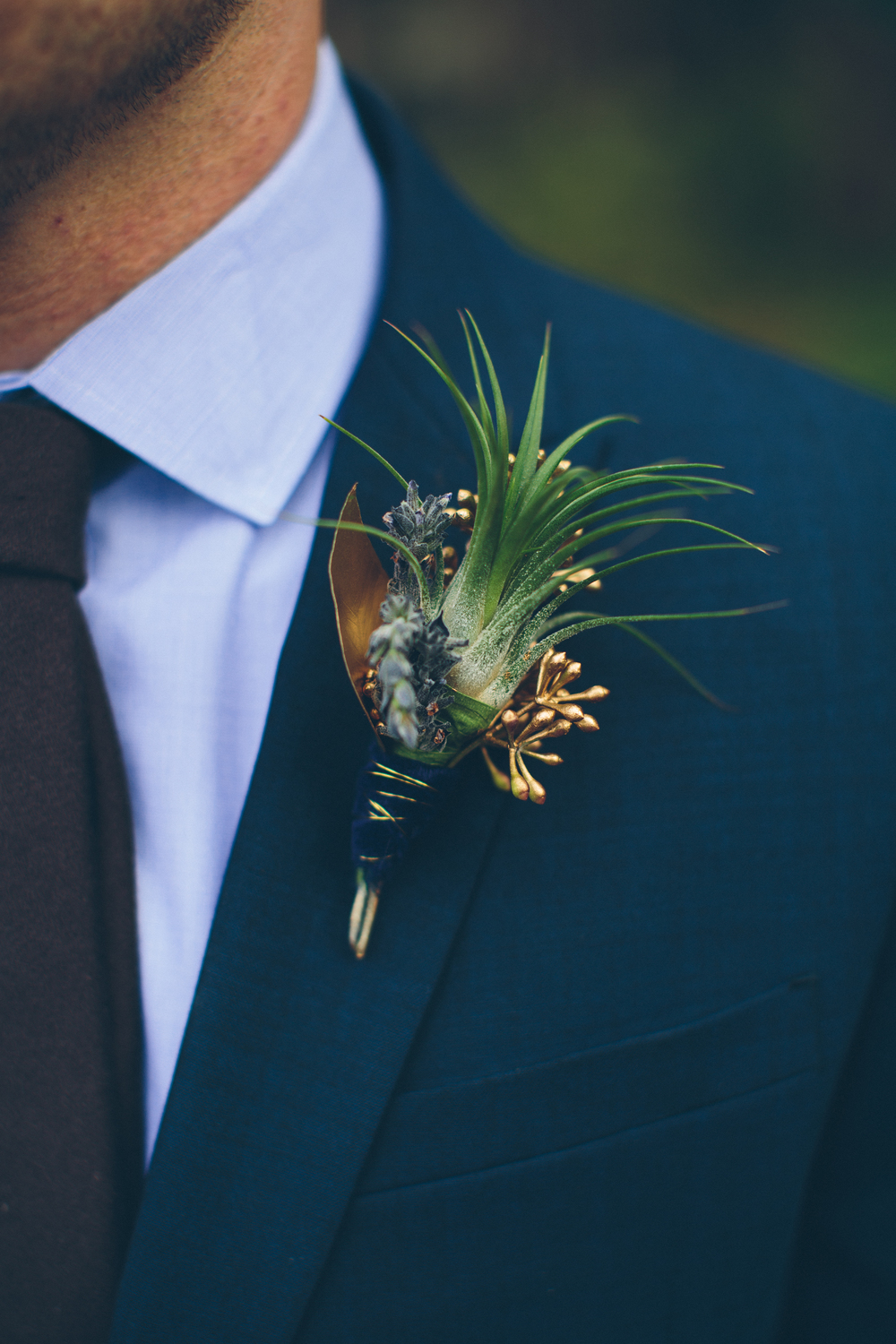 Lace and Lilies, Air Plant Boutonniere, Rustic