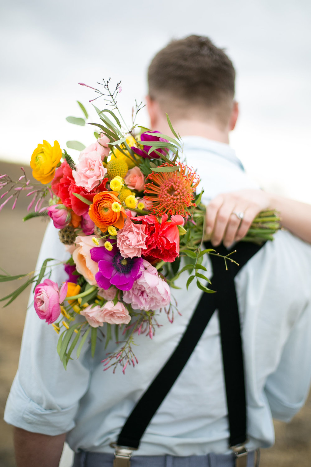 Lace and Lilies, fun and colorful bridal bouquet