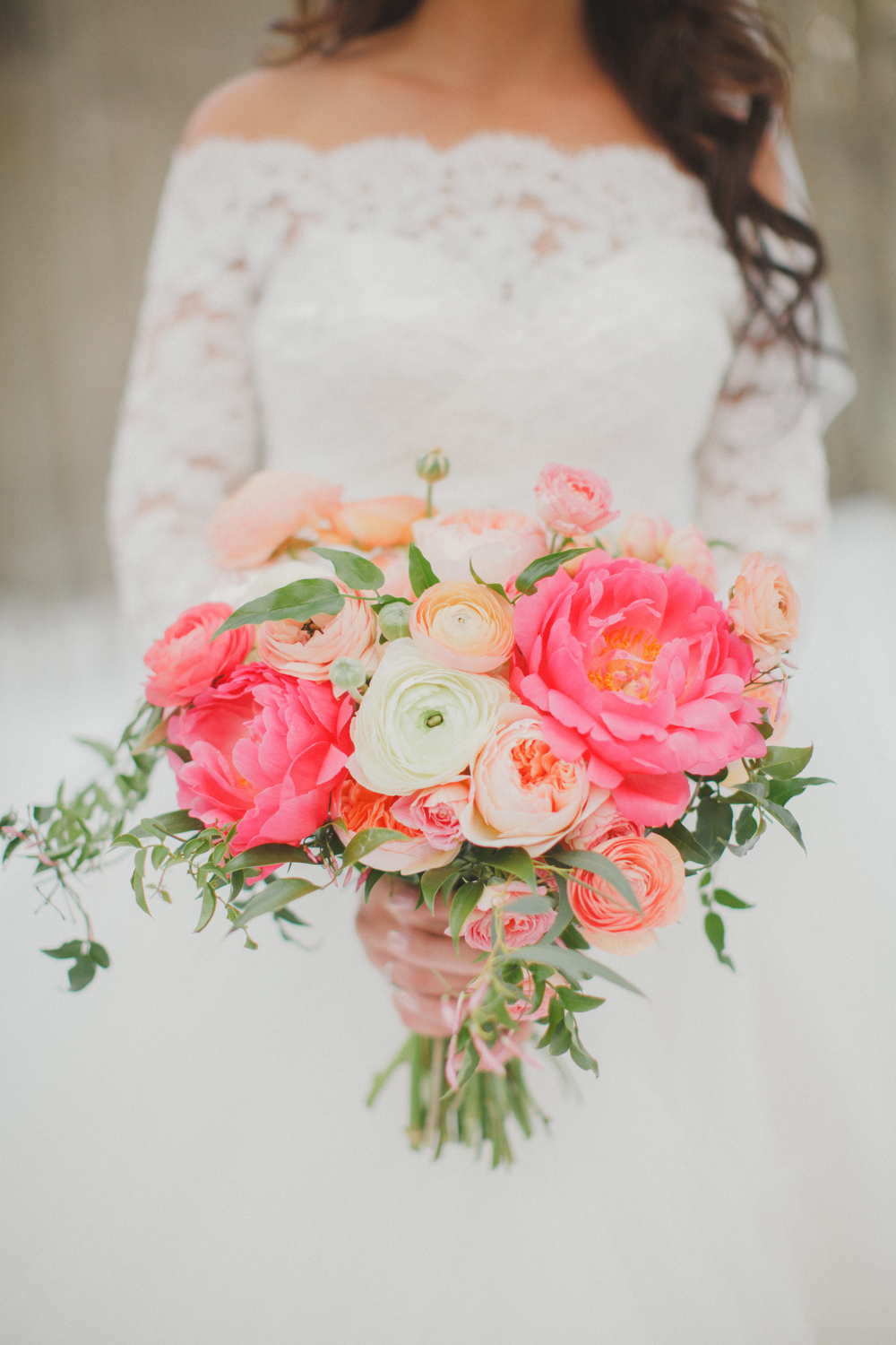 April Vail Wedding, Coral Peonies