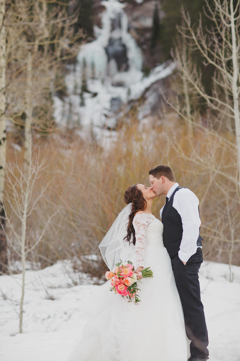 Flowers by Lace and Lilies, Vail Colorado, Winter Wedding, Coral bouquet