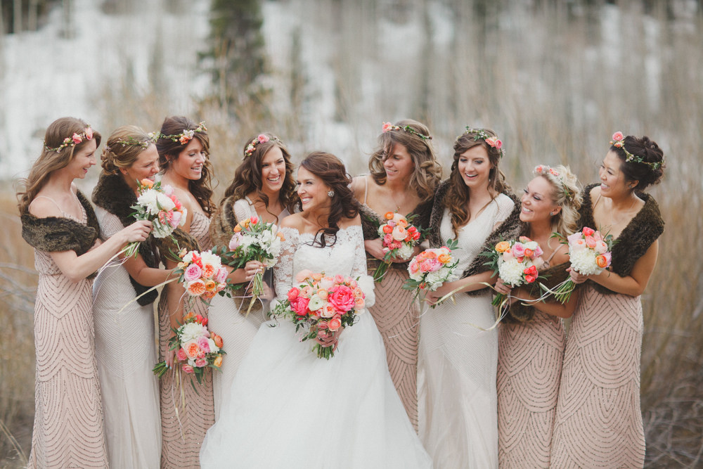 Flowers by Lace and Lilies, Vail Colorado, Blush, Peach and Coral bouquets