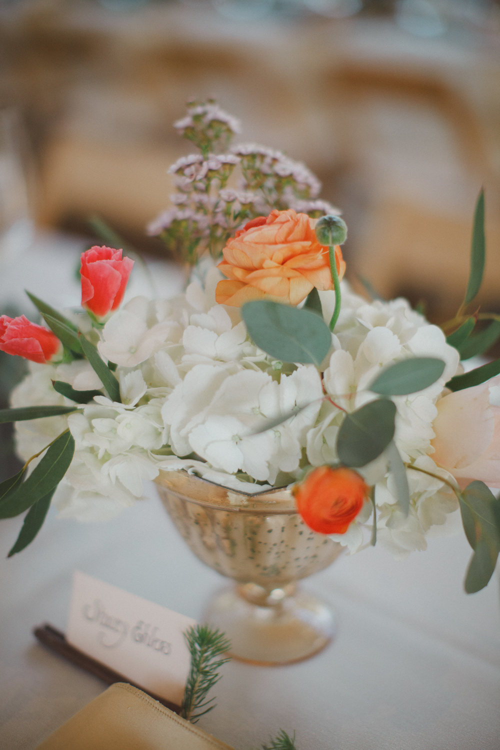 Flowers by Lace and Lilies, Peach and Coral Centerpiece, Gold Vase