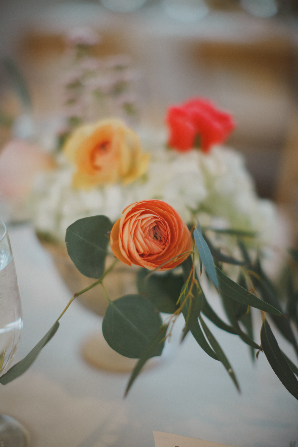 Flowers by Lace and Lilies, Gold centerpiece, peach and coral flowers, ranunculus