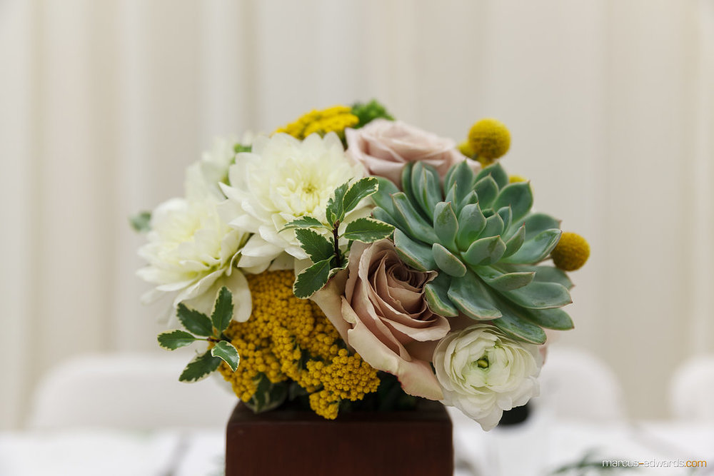 Flowers by Lace and Lilies - Succulent Bouquet - Colorado Wedding - Yellow Bouquet