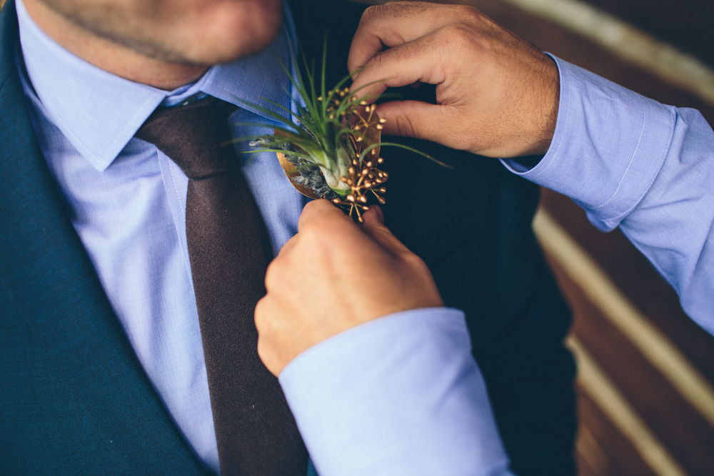 Flowers by Lace and Lilies - Air Plant Boutonniere - Gold Boutonniere - Rustic Wedding -Woodland Wedding