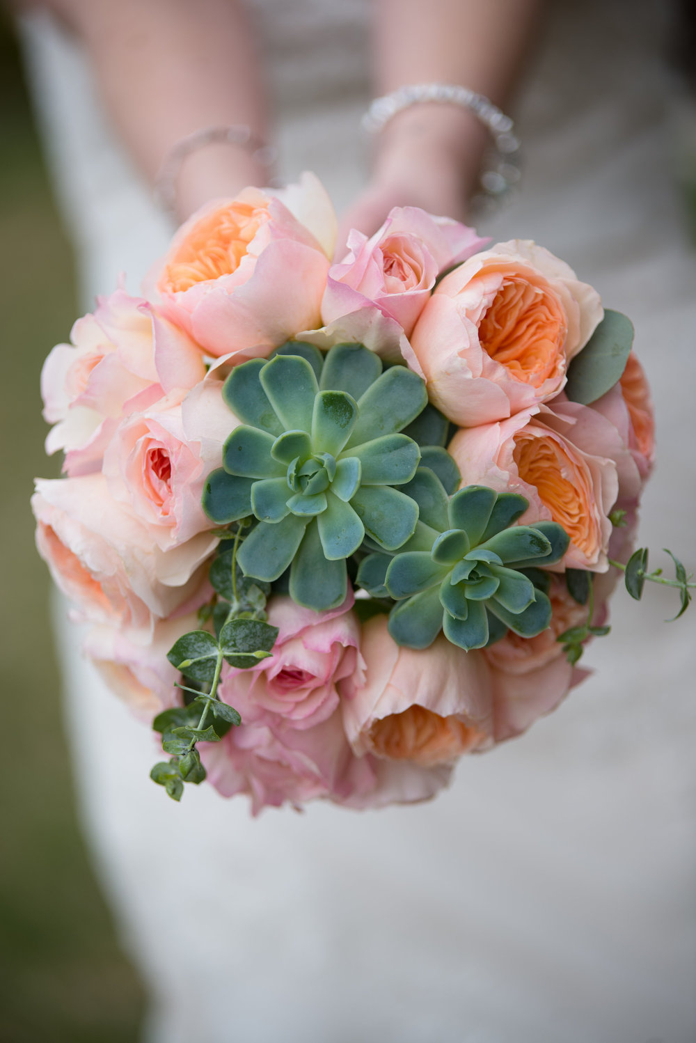 Flowers by Lace and Lilies - Pink Wedding - Peach Wedding - Pink Bouquet - Succulent Bouquet