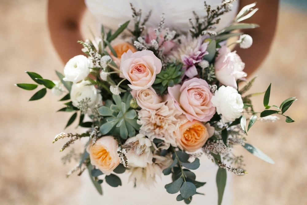 Flowers by Lace and Lilies, Ivory, Blush, Peach wedding bouquet, succulents