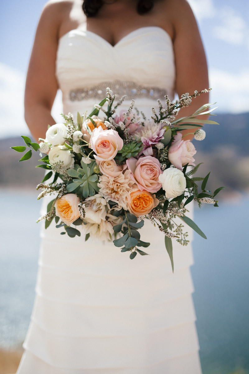 Bridal Bouquet by Lace and Lilies, Succulents, Blush and Peach Flowers