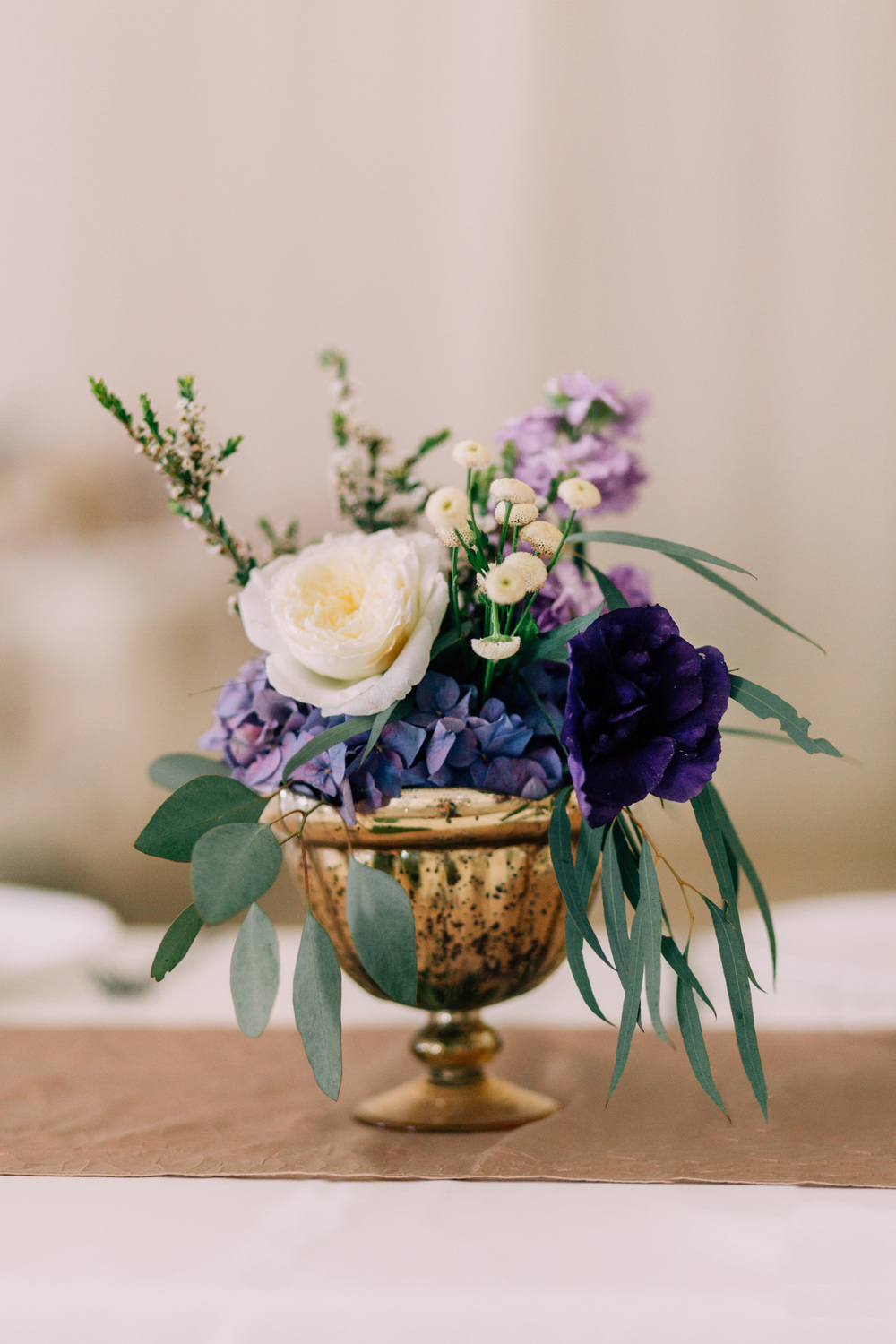Flowers by Lace and Lilies, Purple Fall Wedding, Gold Mercury Glass Centerpieces, Eucalyptus