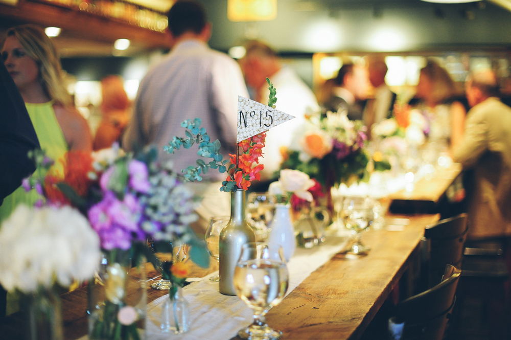 Flowers by Lace and Lilies, Bud Vase Centerpieces, Odell Brewery Wedding, Flag Table Numbers