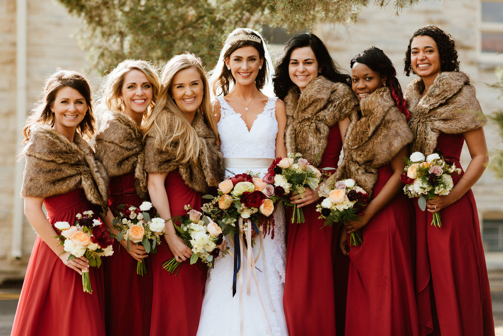 Flowers by Lace and Lilies, Red winter wedding, fur bridesmaids, burgundy red bouquets