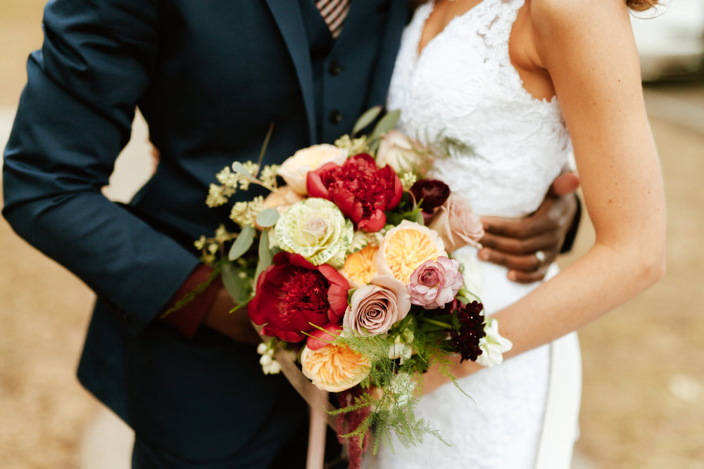 Flowers by Lace and Lilies, fall wedding bouquet, burgundy and peach flowers, boutonniere, peony garden rose kale ranunculus