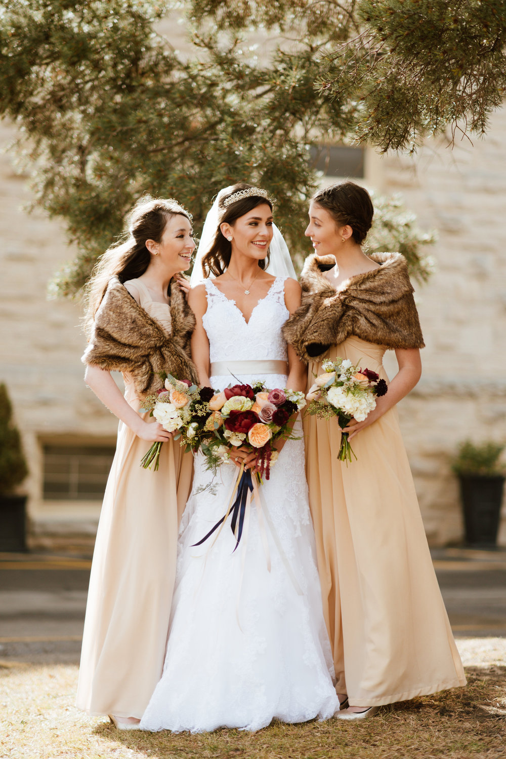 Flowers by Lace and Lilies, winter wedding, burgundy and peach bouquets, fur bridesmaids