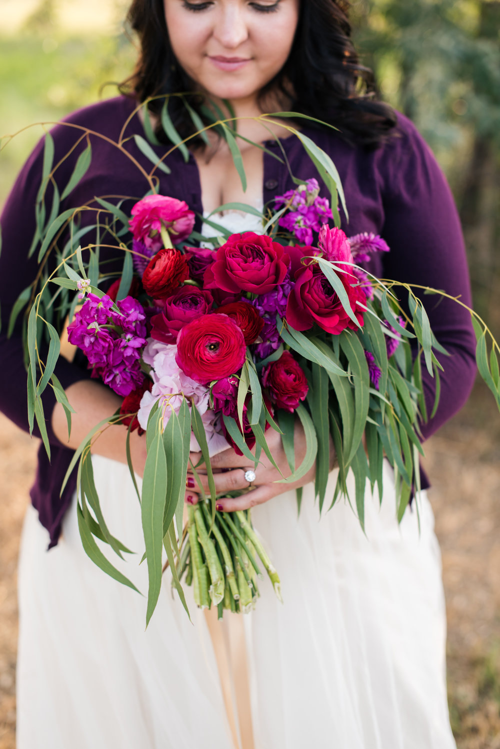 Flowers by Lace and Lilies, Vibrant Pink Summer Bouquet, Ranunculus, Garden Rose, Eucalyptus