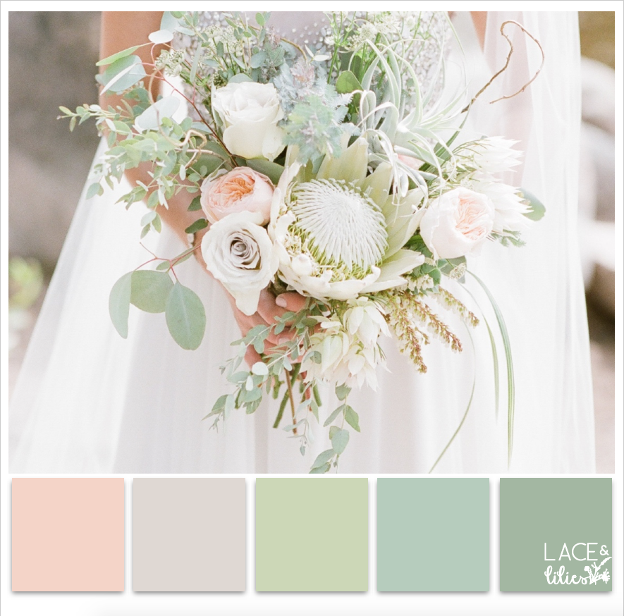 Lace and Lilies Color Palette Series, wedding flowers, bridal bouquet
