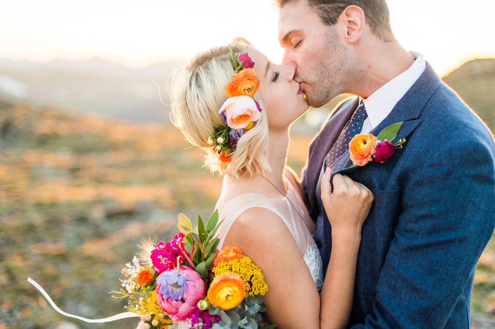 Flowers by Lace and Lilies, bright summer wedding bouquet, boutonniere and flower crown, sunset wedding photography
