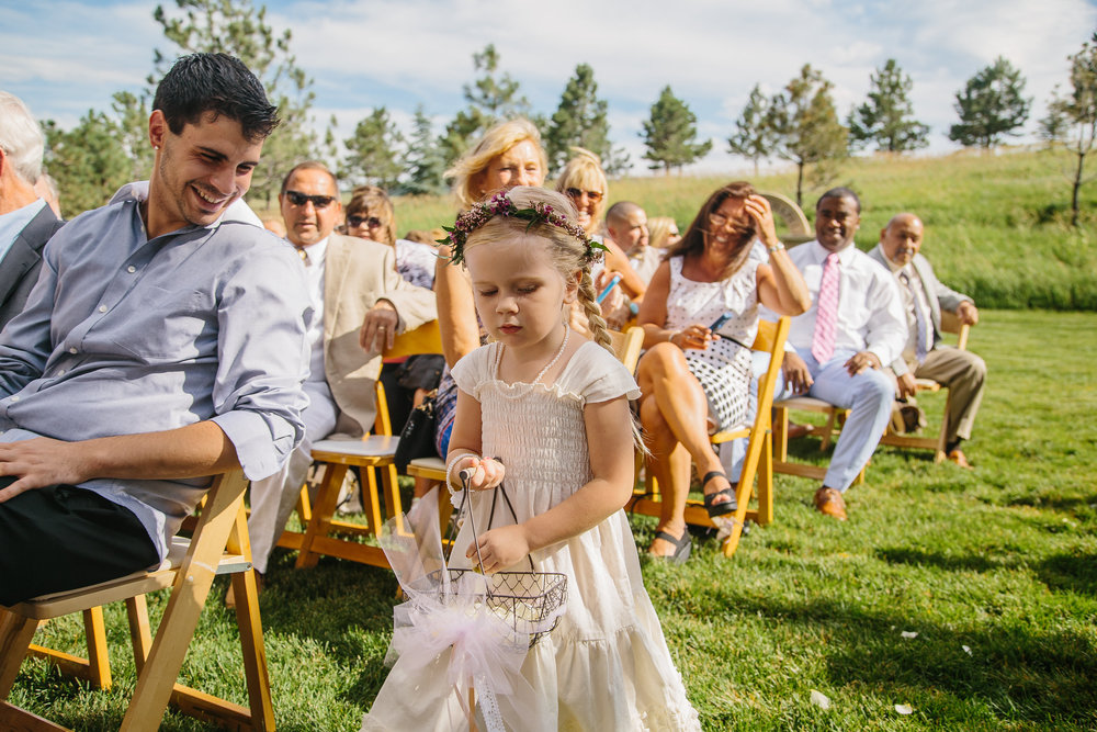 Flowers by Lace and Lilies - colorado, summer wedding, spruce mountain ranch, aisle flowers, flower girl, halo, basket, flower crown, floral halo, outdoor