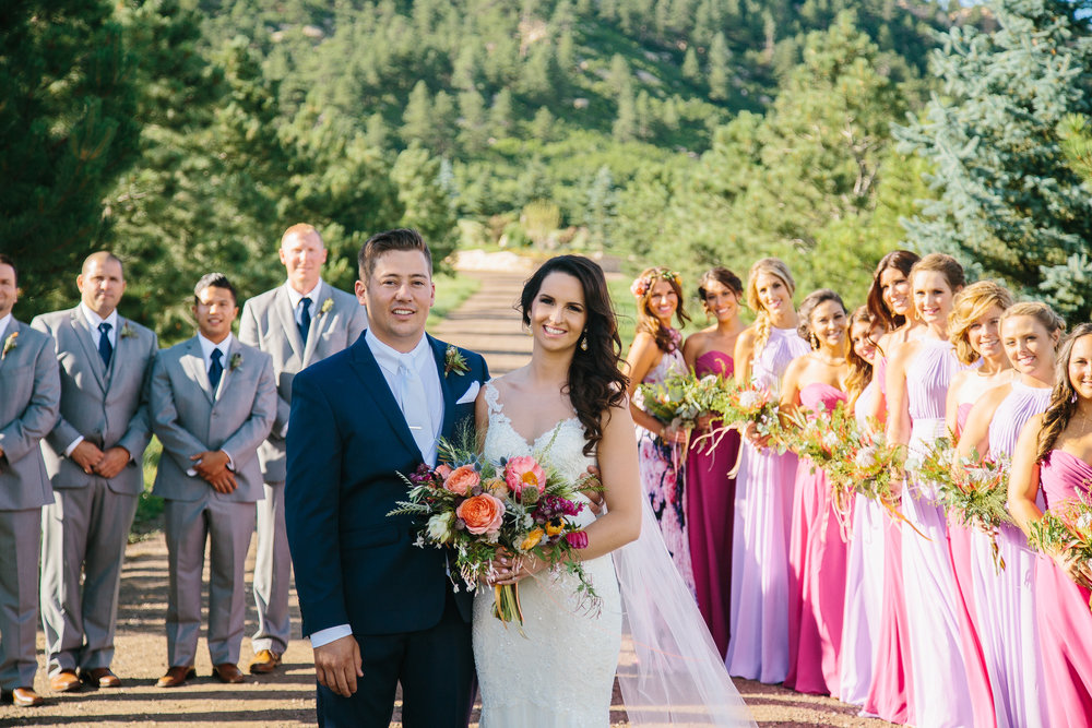 Flowers by Lace and Lilies - Bridal bouquet, hair flowers, flower crown, floral halo, bride, maid of honor, pink, blush, purple, blue, thistle, colorful, vibrant, summer wedding, colorado, peony, blushing bride, garden rose, air plant, bridesmaid, bridesmaids, groom, groomsmen, boutonniere, protea, spruce mountain ranch