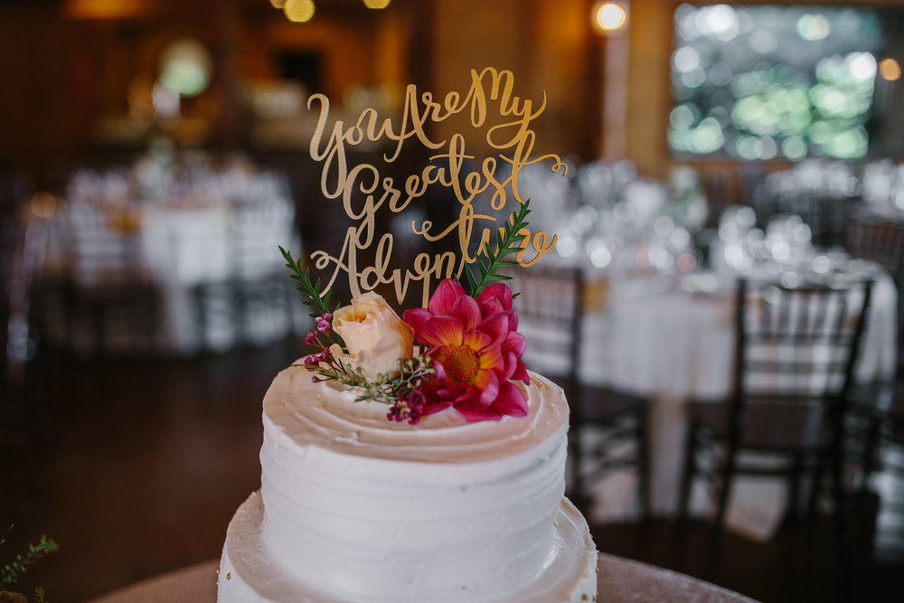 Flowers by Lace and Lilies - colorado, spruce mountain ranch, wedding, summer, bride and groom, pink, peach, coral, greenery, cake flowers, cake table, sweets, you are my greatest adventure, cake topper