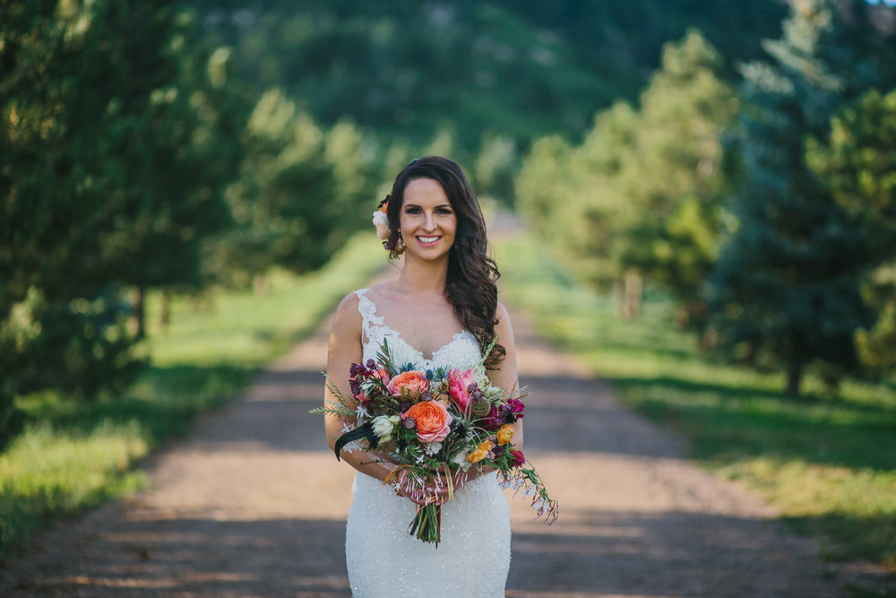Flowers by Lace and Lilies - Bridal bouquet, hair flowers, floral comb, bride, pink, blush, purple, blue, thistle, colorful, vibrant, summer wedding, colorado, peony, blushing bride, garden rose, air plant, spruce mountain ranch