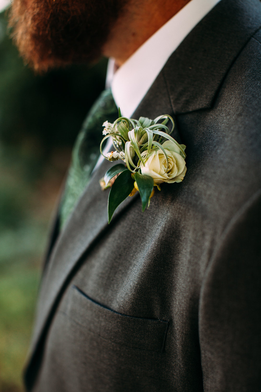 Flowers by Lace and Lilies - Air plant and spray rose boutonniere, mountain wedding,