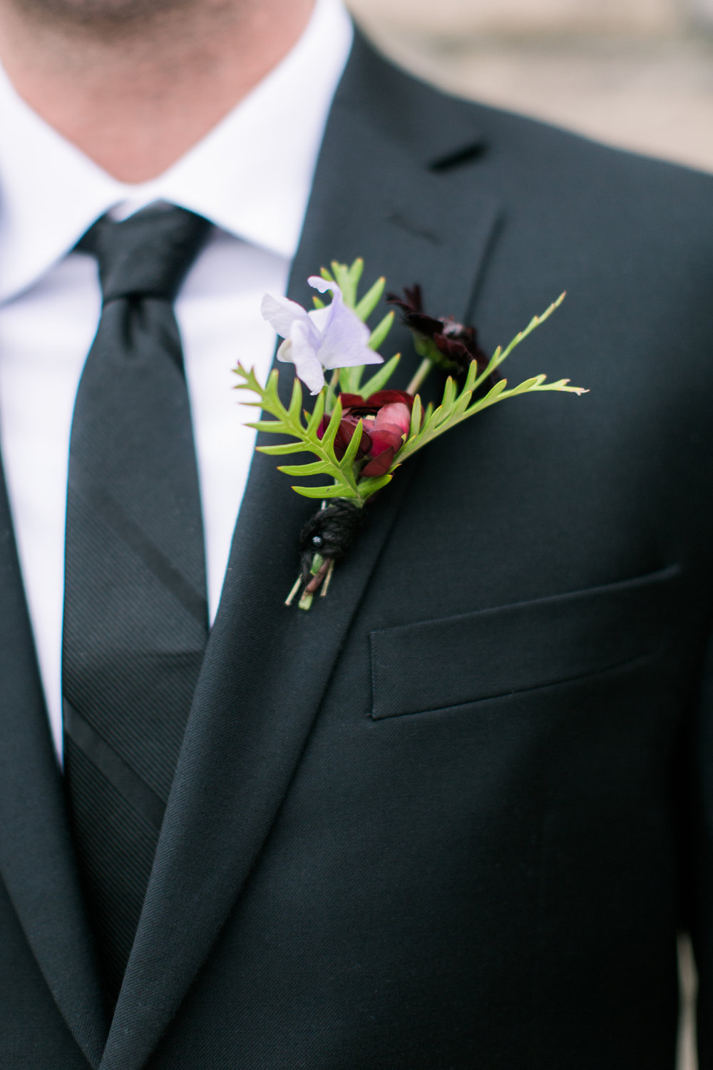 Flowers by Lace and Lilies, formal black tie groom, burgundy and lavender boutonniere - ranunculus