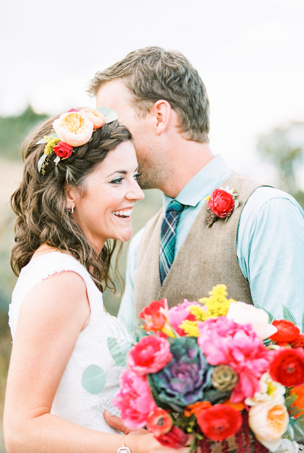 Flowers by Lace and Lilies, bright bold and colorful bouquet, flower crown/halo and boutonniere, mountain summer wedding - peonies, garden rose, ranunculus and kale