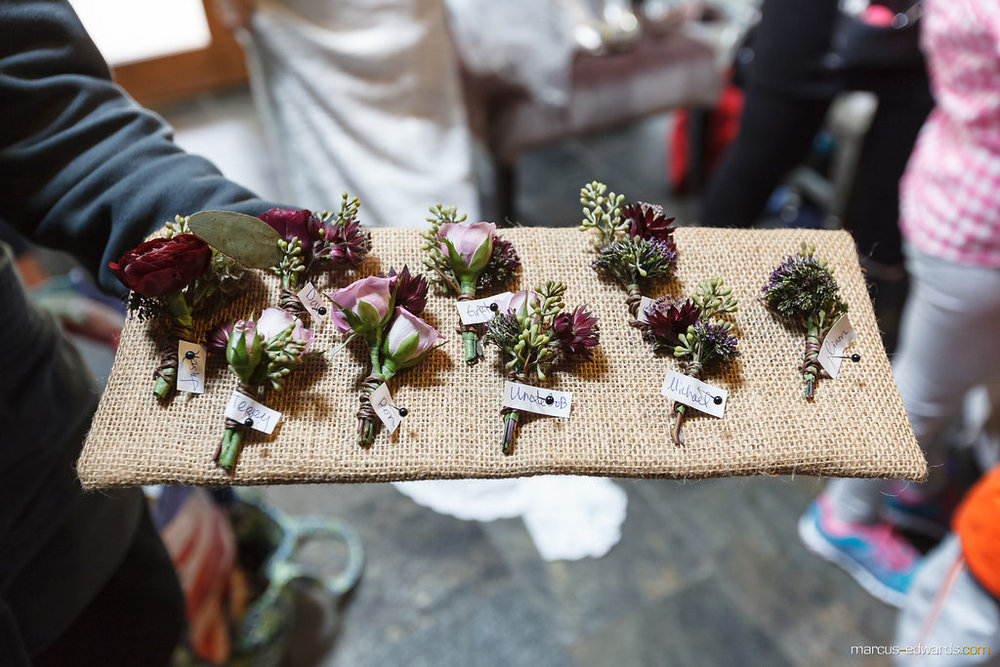 Flowers by Lace and Lilies, lavender spray rose and burgundy ranunculus boutonnieres - rustic mountain wedding