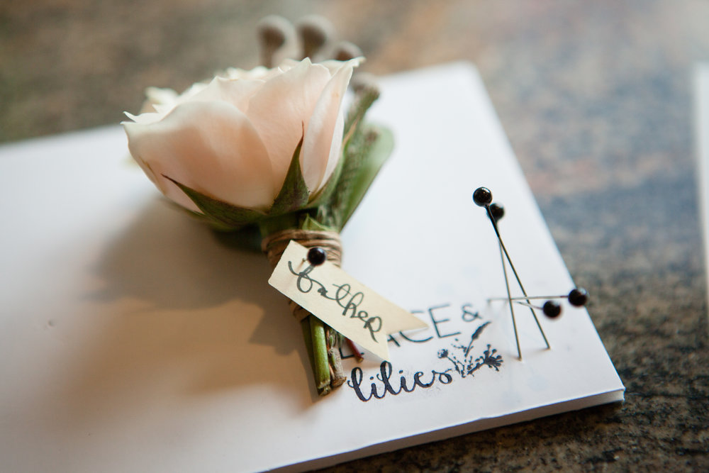 Flowers by Lace and Lilies, blush spray rose and silver brunia boutonniere board, summer wedding